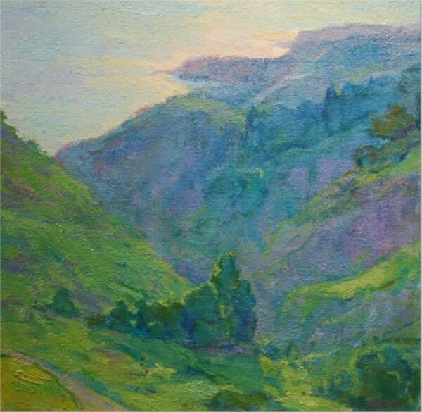 """American Legacy Fine Arts presents """"Canyon Light Rolling Hills"""" a painting by Amy Sidrane."""