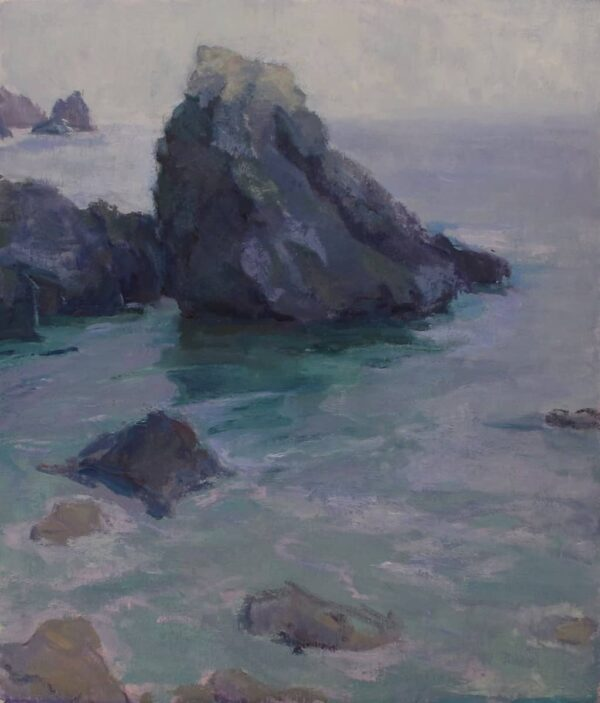 """American Legacy Fine Arts presents """"Silver Light; Pelican Cove, Palos Verdes"""" a painting by Amy Sidrane."""