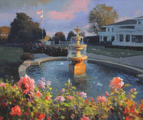 """American Legacy Fine Arts presents """"Los Angeles Country Club Fountain"""" a painting by Calvin Liang."""