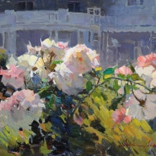 """American Legacy Fine Arts presents """"The Roses in Front of the Club"""" a painting by Calvin Liang."""