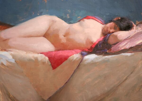 "American Legacy Fine Arts presents ""Draped Kimono"" a painting by Jeremy Lipking."
