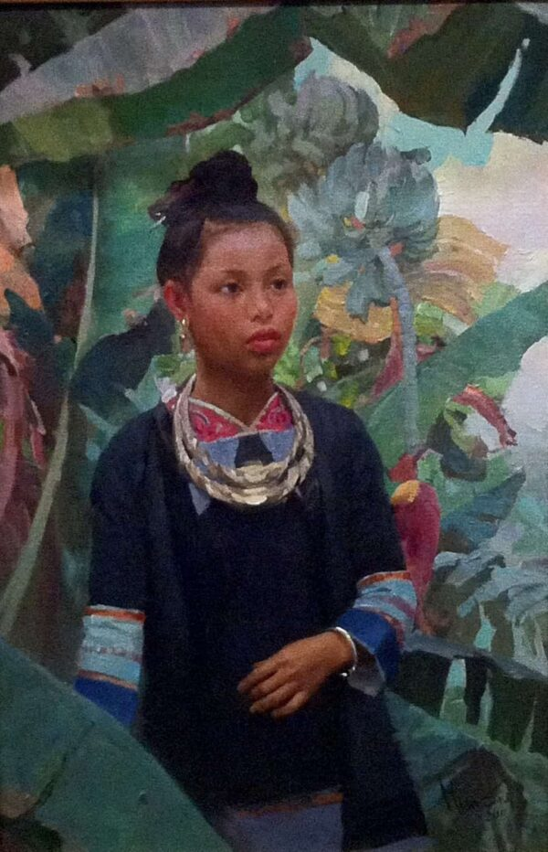 """American Legacy Fine Arts presents """"Festival Necklace; Miao Tribe, Guizhou Province"""" a painting by Mian Situ."""