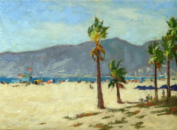 "American Legacy Fine Arts presents ""Last Days of Summer, Santa Monica Beach"" a painting by Stephen Mirich."