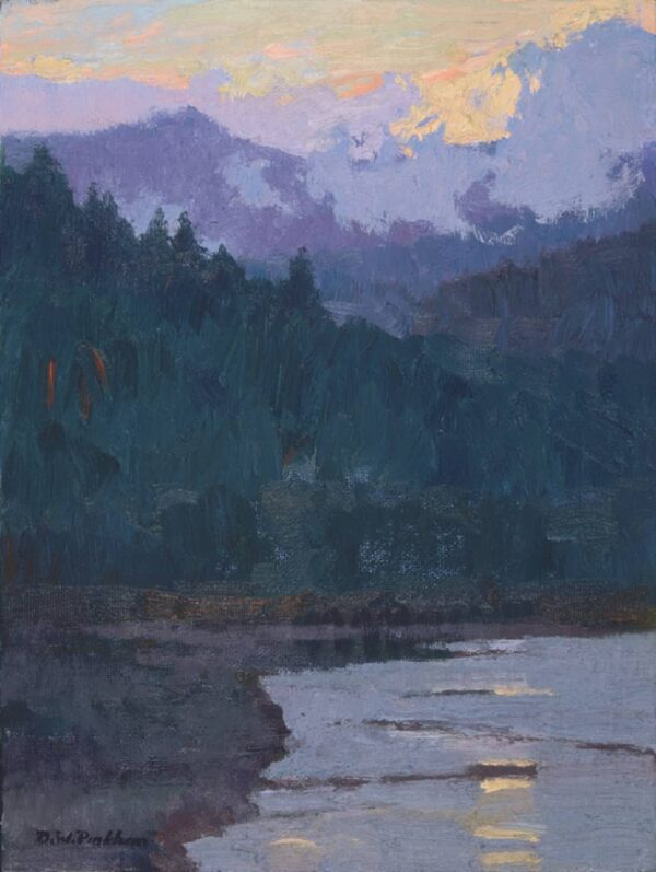 "American Legacy Fine Arts presents ""Last Light; Mount Shasta"" a painting by Daniel W. Pinkham."