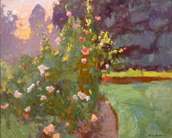 """American Legacy Fine Arts presents """"Huntington Rose Garden at Sunset"""" a painting by Daniel W. Pinkham."""