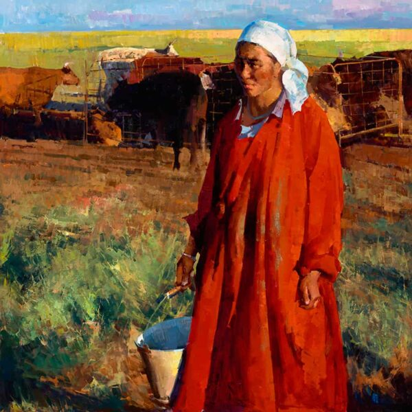 """American Legacy Fine Arts presents """"Mongolian Woman Milks the Cow"""" a painting by Jove Wang."""