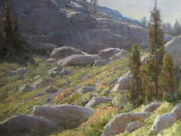"""American Legacy Fine Arts presents """"Donner Pass Slopes"""" a painting by Jean LeGassick."""