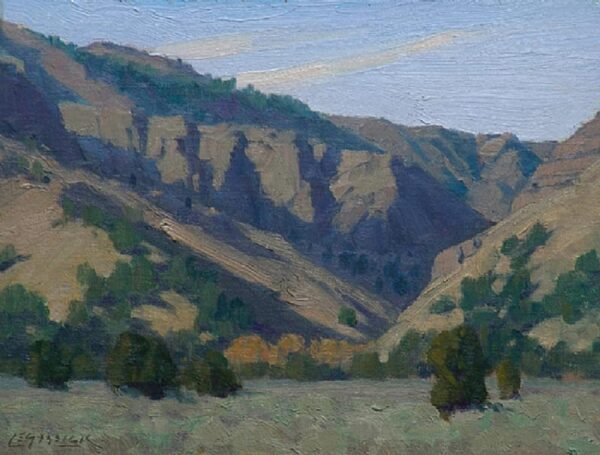 """American Legacy Fine Arts presents """"Granger Canyon; Surprise Valley Near Cedarville, CA"""" a painting by Jean LeGassick."""