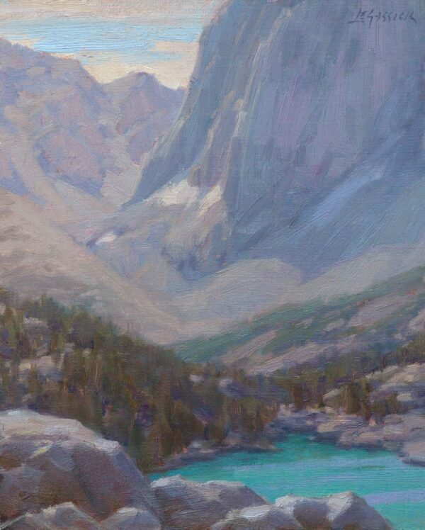 """American Legacy Fine Arts presents """"High Above Fifth Lake"""" a painting by Jean LeGassick."""