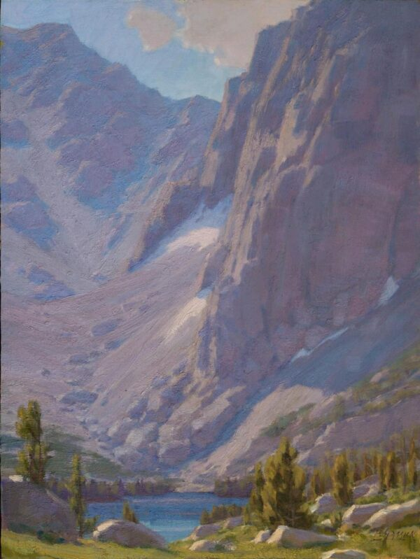 """American Legacy Fine Arts presents """"Vertical Rise Above Third Lake"""" a painting by Jean LeGassick."""
