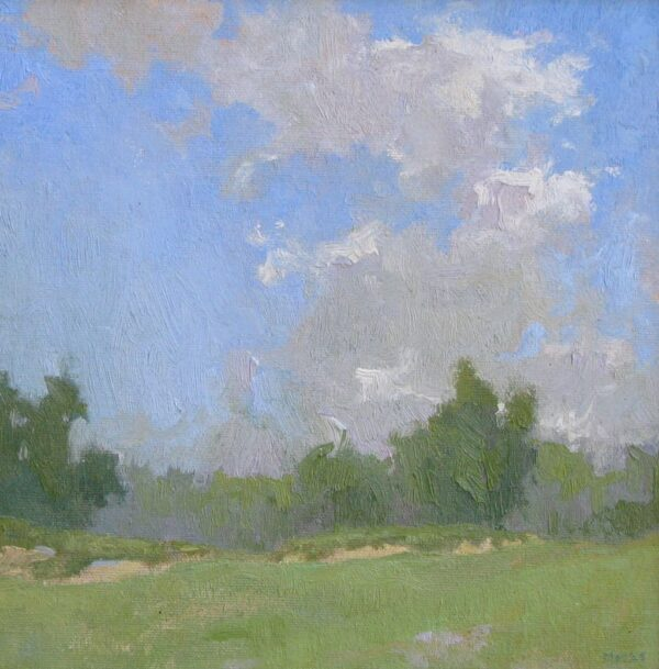 """American Legacy Fine Arts presents """"Billowing over the Greens"""" a painting by Jennifer Moses."""