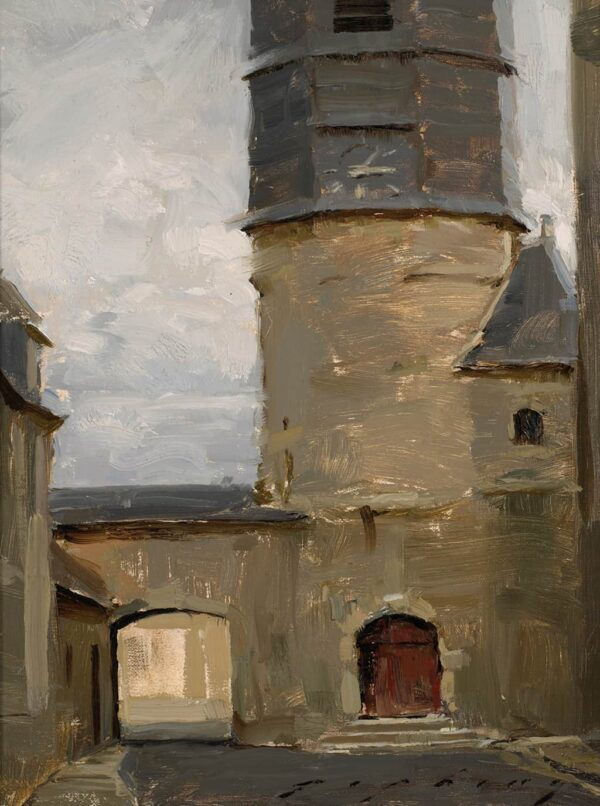 """American Legacy Fine Arts presents """"Chatillon Coligny; Loire Valley"""" a painting by Jeremy Liping."""