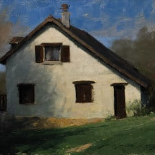 """American Legacy Fine Arts presents """"French Country Cottage"""" a painting by Jeremy Liping."""