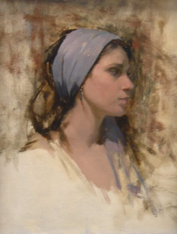 """American Legacy Fine Arts presents """"Grey Scarf"""" a painting by Jeremy Lipking."""