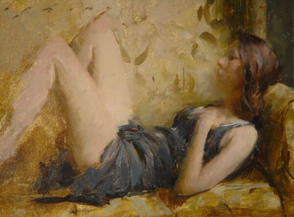 """American legacy Fine Arts presents """"In Repose"""" a painting by Jeremy Lipking."""