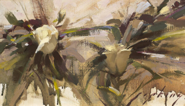 """American Legacy Fine Arts presents """"White Roses on the Vine"""" a painting by Jeremy Lipking."""