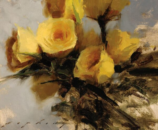 """American Legacy Fine Arts presents """"Yellow Roses"""" a painting by Jeremy Lipking."""