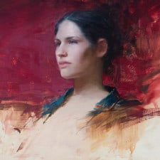 """American Legacy Fine Arts presents """"Young Girl with green and Red"""" a painting by Jeremy Lipking."""