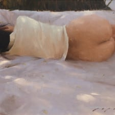 """American Legacy Fine Arts presents """"Reclining Nude"""" a painting by Jeremy Lipking."""