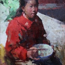 """American Legacy Fine Arts presents """"Breakfast"""" a painting by Jove Wang."""