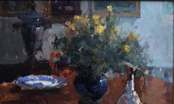 """American Legacy Fine Arts presents """"Flowers on Repin's Desk"""" a painting by Jove Wang."""