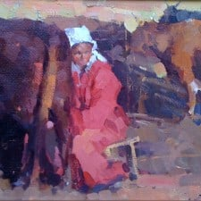 """American Legacy Fine Arts presents """"Milk Woman Under the Sunset"""" a painting by Jove Wang."""