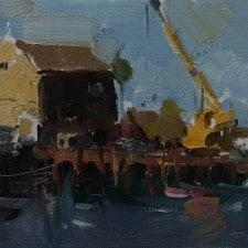 "American Legacy Fine Arts presents ""Port at San Pedro"" a painting by Jove Wang."
