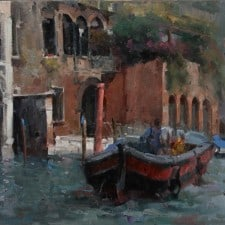 """American Legacy Fine Arts presents """"Morning in Venice"""" a painting by Jove Wang."""