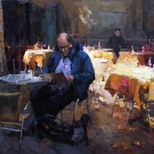 """American Legacy Fine Arts presents """"Bistro de Provence"""" a painting by Jove Wang."""