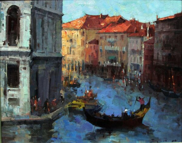 """American Legacy Fine Arts presents """"Holiday in Venice"""" a painting by Jove Wang."""