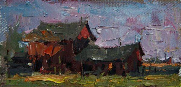 "American Legacy Fine Arts presents ""La Ferme Outside Barbizon, France"" a painting by Jove Wang."