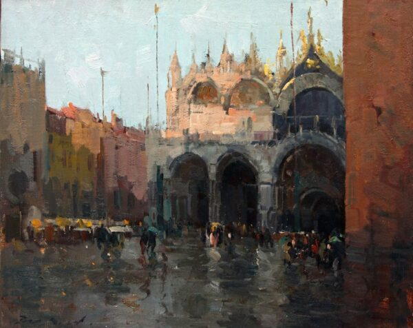 """American Legacy Fine Arts presents """"Rainy Day at Piazza San Marco"""" a painting by Jove Wang."""