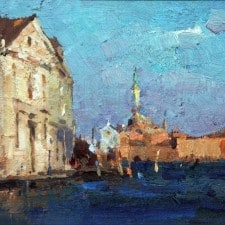 """American Legacy Fine Arts presents """"Venice Sunset"""" a painting by Jove Wang."""