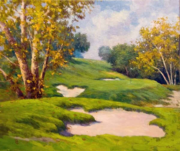 """American Legacy Fine Arts presents """"Shades of Autumn"""" a painting by Junn Roca."""