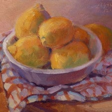 """American Legacy Fine Arts presents """"Meyer Lemons"""" a painting by Jean LeGassick."""
