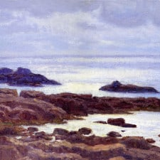 """American Legacy Fine Arts presents """"Low Tide; Royal Palms"""" a painting by Stephen Mirich."""