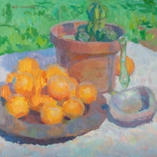 """American Legacy Fine Arts presents """"Still Life with Oranges and Abalone Shell"""" a painting by Eric Merrell."""