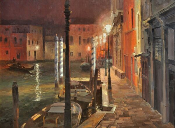 """American Legacy Fine Arts presents """"Venice at Night"""" a painting by Mian Situ."""