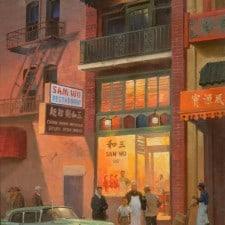 "American Legacy Fine Arts presents ""Sam Wo Restaurant, San Francisco, 1960"" a painting by Mian Situ."
