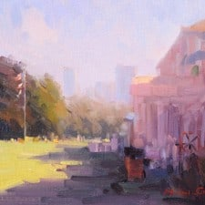 """American Legacy Fine Arts presents """"Corner of CLubhouse"""" a painting by Michael Situ."""
