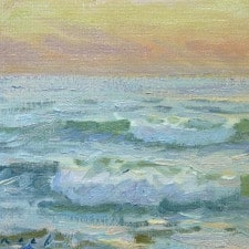 """American Legacy Fine Arts presents """"Evening Surf"""" a painting by Stephen Mirich."""