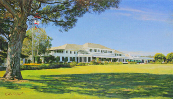 """American Legacy Fine Arts presents """"LACC 9; Clubhouse from the 18th"""" a painting by Alexander V. Orlov."""