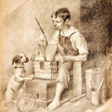 """American Legacy Fine Arts presents Painting the Little House, 1921"""" a drawing by Norman Rockwell."""