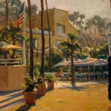 """American Legacy Fine Arts presents """"Morning Coffee"""" a painting by Michael Obermeyer."""