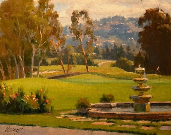 """American Legacy Fine Arts presents """"Morning on the Reagan Terrace"""" a painting by Michael Obermeyer."""