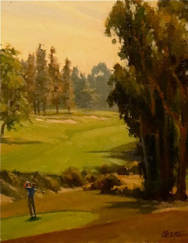 """American Legacy Fine Arts presents """"Teeing Off"""" a painting by Michael Obermeyer."""