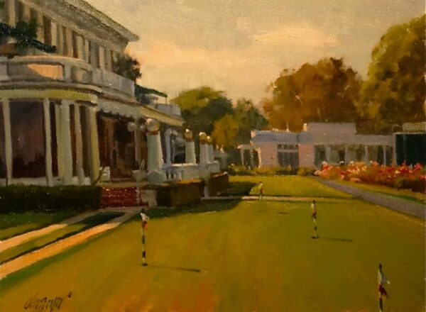 """American Legacy Fine Arts presents """"The Clubhouse Lawn"""" a painting by Michael Obermeyer."""