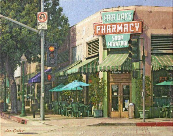 "American Legacy Fine Arts presents ""Fair Oaks Pharmacy, South Pasadena"" a painting by Alexander V. Orlov."