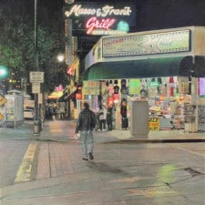 """American Legacy Fine Arts presents """"Musso & Frank Grill, Hollywood Walk of Fame"""" a painting by Alexander V. Orlov."""