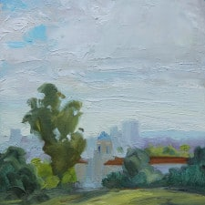 """American Legacy Fine Arts presents """"Los Angeles Schoolhouse View"""" a painting by Tony Peters."""